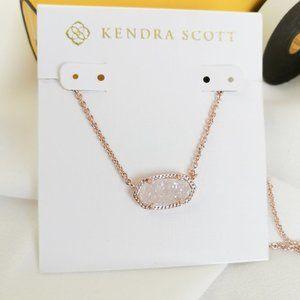 Kendra Scott Elisa Rose Gold Iridescent Druzy New